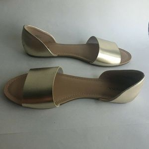 Merona Gold Metallic Open Toe Flats Sandal Shoe10